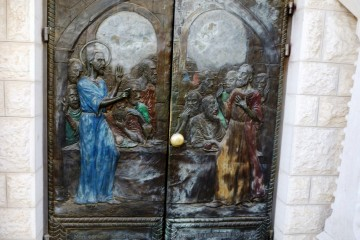 door at entry to church
